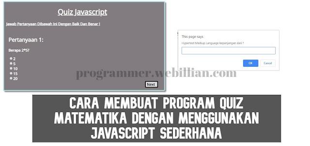 Cara Membuat Program Quiz matematika dengan menggunakan Javascript sederhana