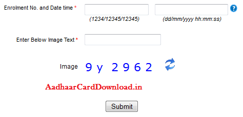 Aadhaar Card Status by using Enrollment Number