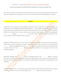 board resolution for issuance of commercial paper