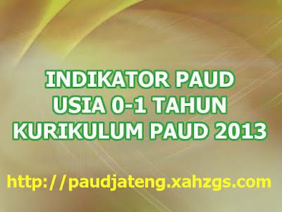Indikator PAUD Usia 0-1 Tahun Terbaru Kurikulum 2013