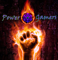 A flaming fist in front of a bark-textured background. Power Gamers surrounds a flaming D20 above the fist.