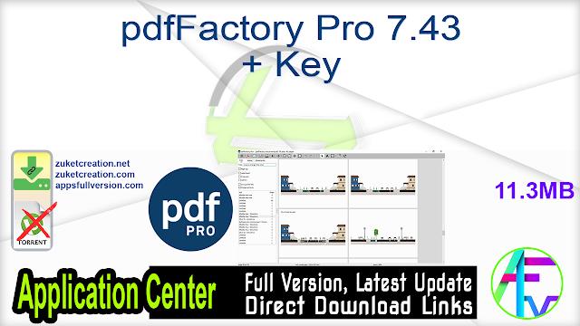 pdfFactory Pro 7.43 + Key