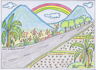 Gambar pemandangan misalnya ialah gambar  Soal Tematik Kelas 1 SD Tema 2 Subtema 3 Gemar Menggambar dan Kunci Jawaban