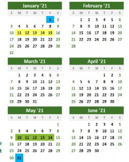 No one day delay for trash/recycle on the calendar until May (Memorial Day)