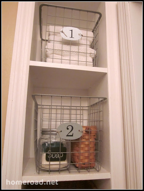 DIY Tiny Bathroom Storage Solutions with numbered tags