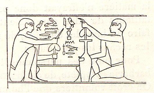 Bajo relieve de la tumba de Mereruka representando la fabricación de vasos de piedra. (Jaques de Morgan, Recherches sur les origines de l'Égypte; l'âge de la pierre et les métaux)