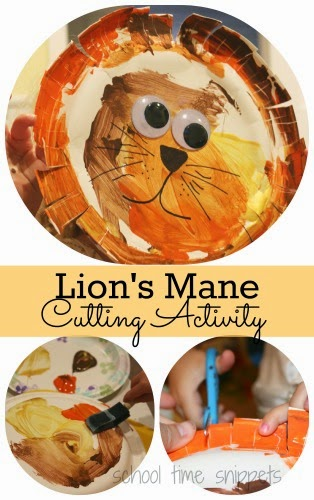 preschool lion cutting activity