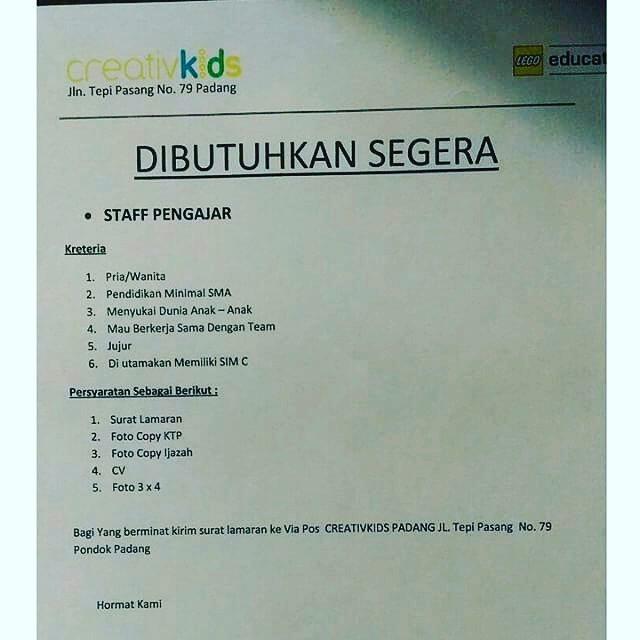 Lowongan Kerja Padang: Creativ Kids – Staff Pengajar Mei 2017