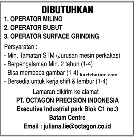 Lowongan Kerja PT. Octagon Precision Indonesia