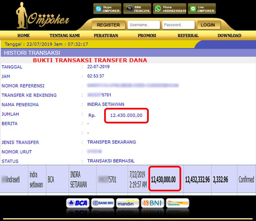 Selamat Kepada Member Setia Ompoker WD Rp 12.430.000