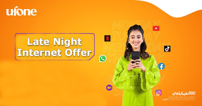 Ufone Late Night Internet Packages Daily ,Weekly, Monthly