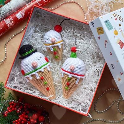 Мороженое снеговики крючком