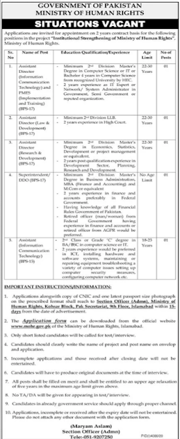 Ministry of Human Rights in Islamabad New jobs in Pakistan 7/02/2021 Latest