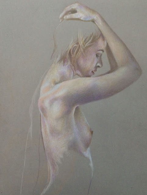 Pencil crayon, drawing, figure sketch, female nude