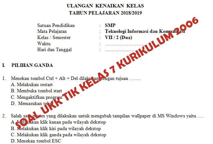Kisi Kisi Soal Dan Kunci Jawaban Ukk Tik Smp Kelas 7 Kurikulum 2006 Didno76 Com