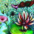 "Abstract Artists International:          Contemporary Colorful Flower Art Painting ""Lily Pond"" by Santa Fe Contemporary Artist and Designer Melanie Birk"
