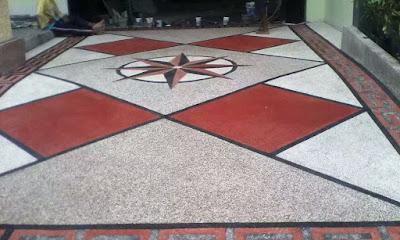 lantai carport Batu sikat motif minimalis