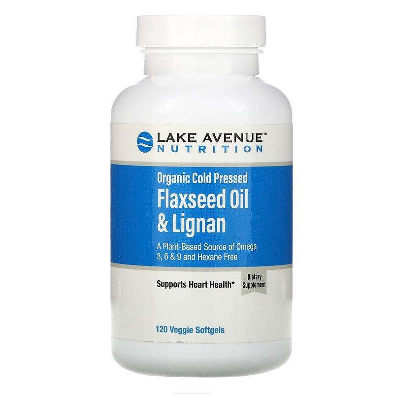 Lake Avenue Nutrition, Органическое льняное масло холодного отжима с лигнанами, без гексана, 120 растительных мягких таблеток