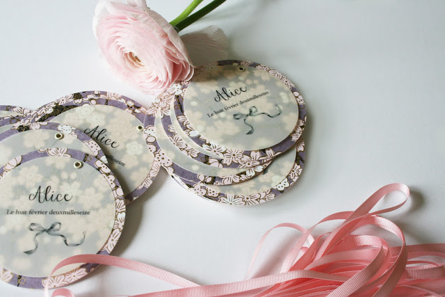 faire-part de naissance fille ruban papier japonais sur mesure raffiné fait main haut de gamme atelier fleur de pommier
