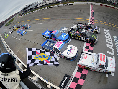 Spencer Boyd crosses the finish line to win at Talladega Superspeedway.  #NASCAR