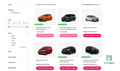 Akses Halaman Stock Clearance SEVA Mobil Bekas