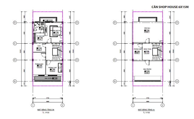 Mặt bằng thiết kế tầng 4 - 4+