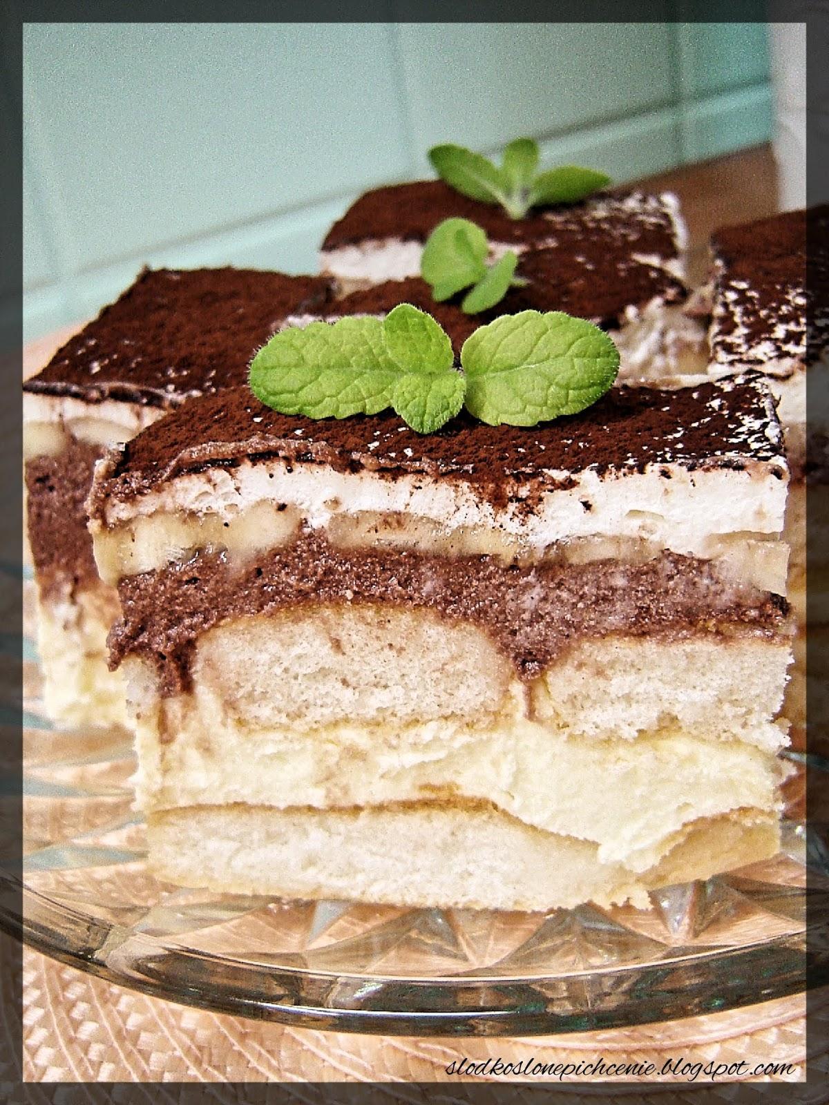 Ciasto waniliowo-kakaowe z bananami (bez pieczenia)