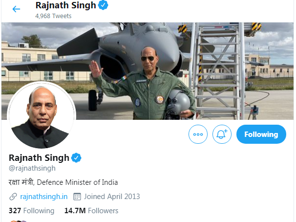 Defence Minister Rajnath Singh Twitter Followers