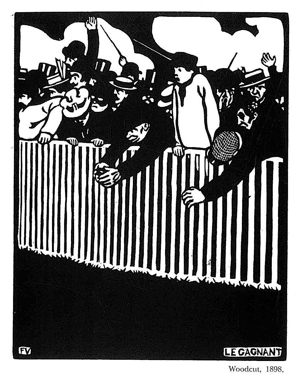 a Felix Valloton print, the winner, a wood cut showing gamblers at a small animal race track
