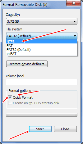 pendrive ntfs format settings