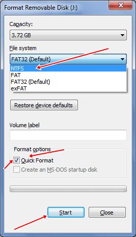 pendrive ntfs format settings