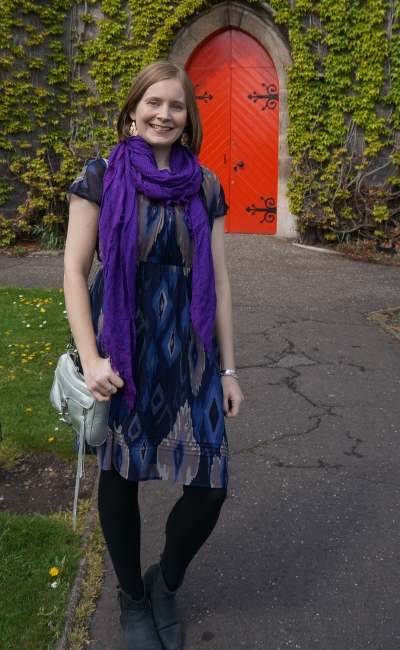 navy ikat print dress with purple scarf silver mini mac bag outfit in liberton kirk | awayfromblue