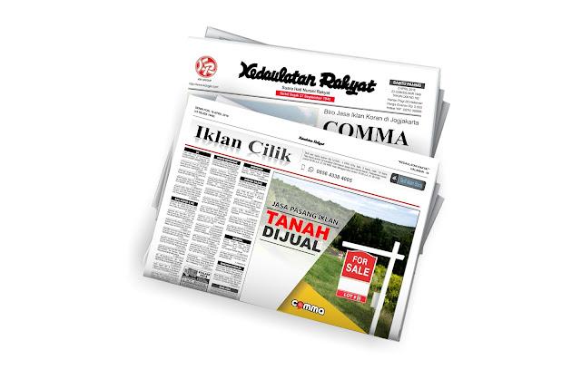 pasang iklan tanah dijual koran Kedaulatan Rakyat