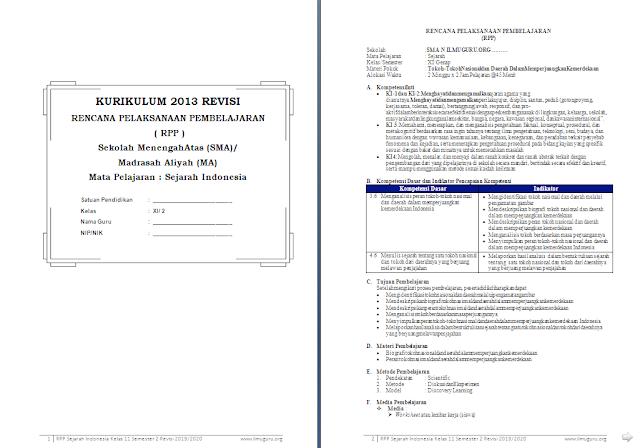 RPP 1 Lembar Sejarah Indonesia Kelas 11 SMA/MA Semester 2