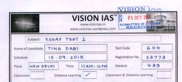 Tina dabi mains answer sheet