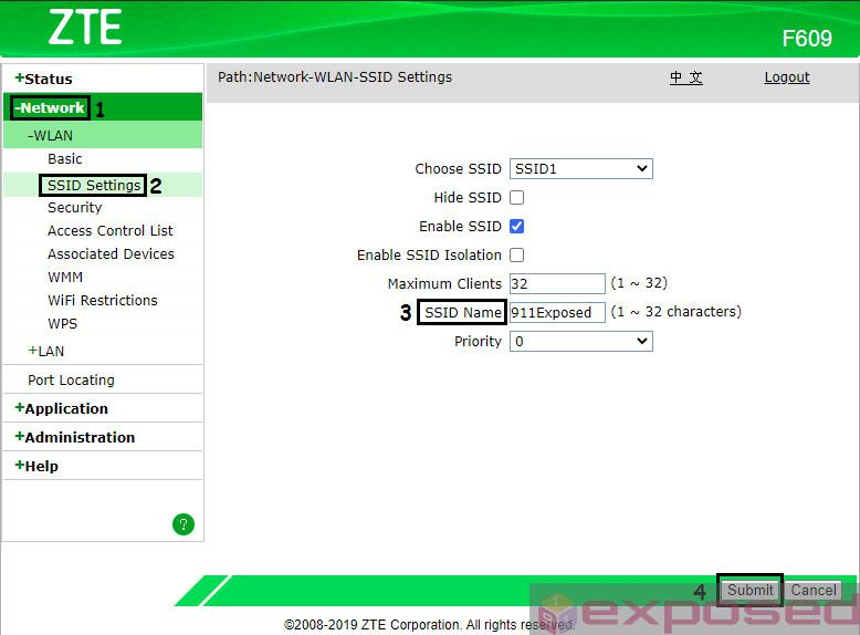 Cara Ganti Nama WiFi ZTE F609/F660