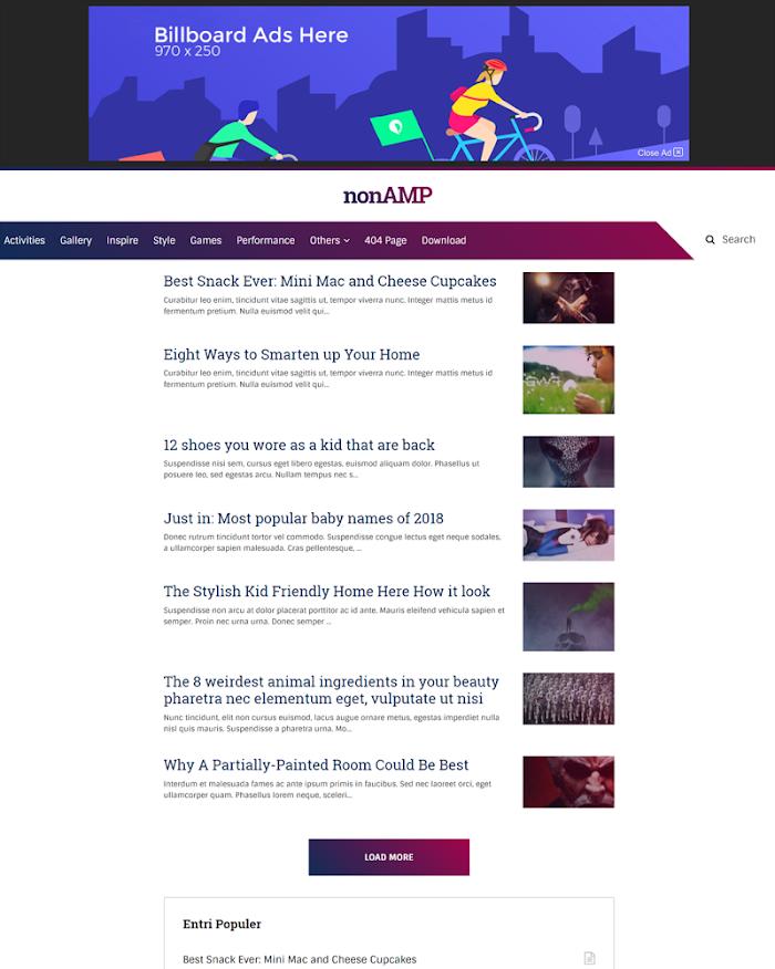 Nonamp mini blogger template fast loading seo optimized
