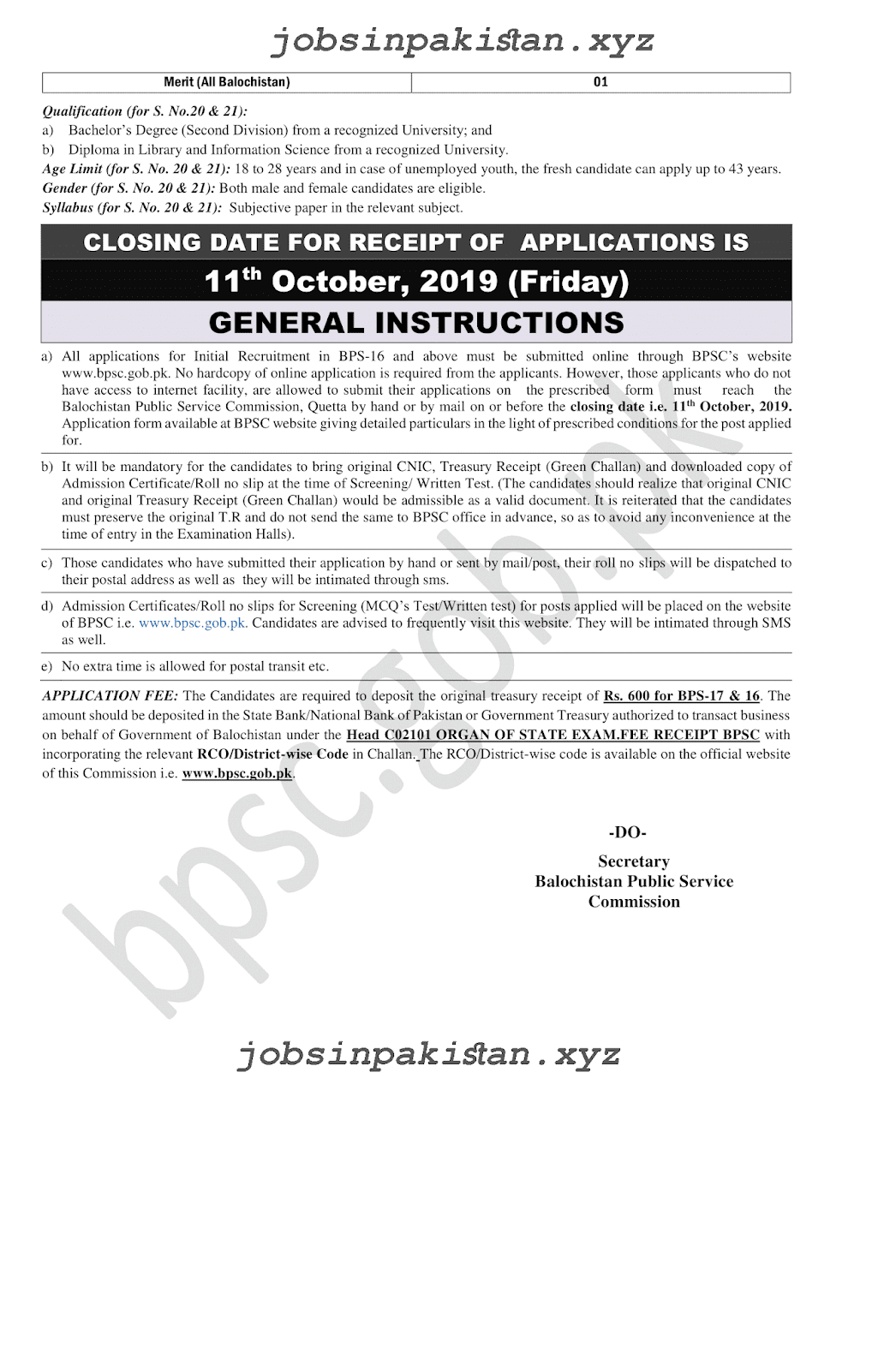 BPSC Advertisement 11/2019 Page No. 6/6