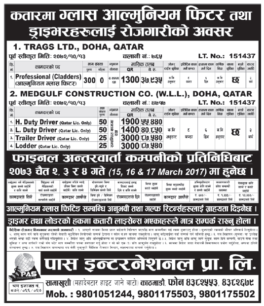 Jobs in Qatar for Nepali, Salary Rs 87,540