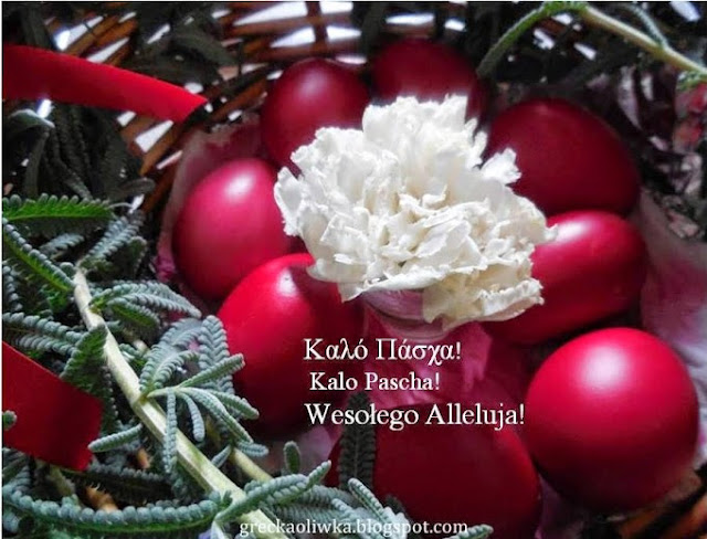 W koszyku greckie czerwone jajka wielkanocne pośrodku kraszanek znajduje się biały goździk.
