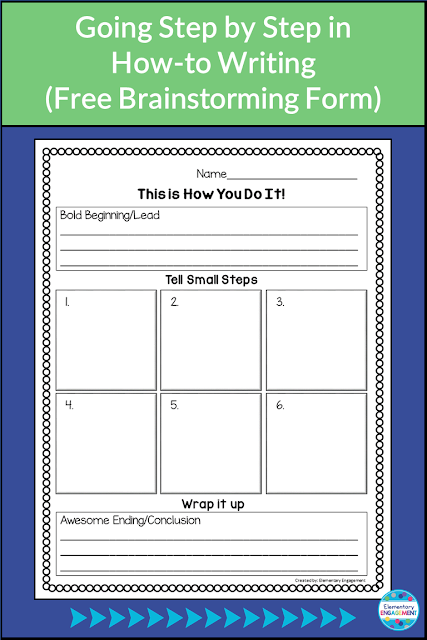 Students use this free form to brainstorm their steps prior to beginning their how-to books.