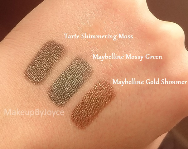 Tarte Shimmering Moss Dupe Maybelline Mossy Green Swatch