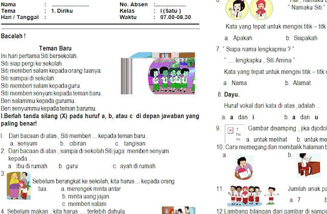Download Soal PAS/UAS Kelas 1 Semester 1 Kurikulum 2013 (Tema 1: Diriku)