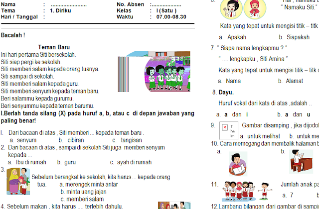 Download Kumpulan Soal PAS/UAS Kelas 1 Semester 1 Kurikulum 2013 Semua Tema