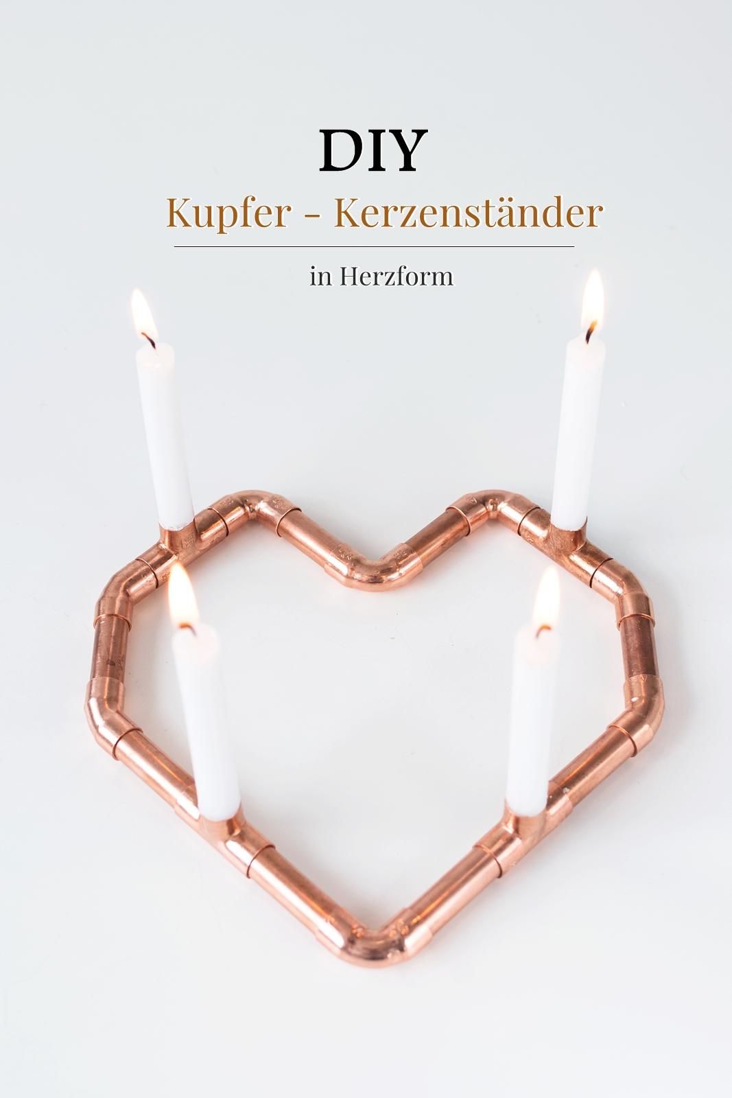 DIY Geschenkidee zum Valentinstag: Kerzenständer aus Kupfer in Herzform