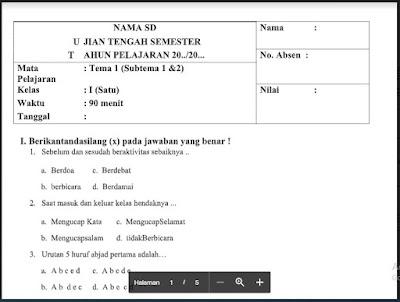 PTS Tema 1 (Subtema 1 & 2) Kelas 1 Sem. Ganjil SD/MI