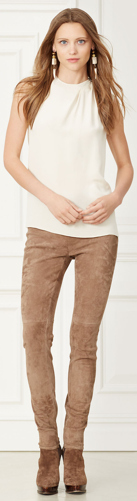 RALPH LAUREN ELEANORA STRETCH-SUEDE PANT