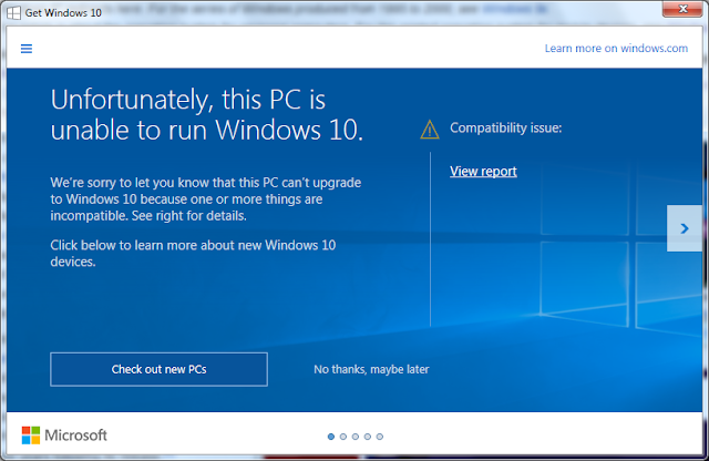 PC Windows 7 unable to run Windows 10 requirements incompatible