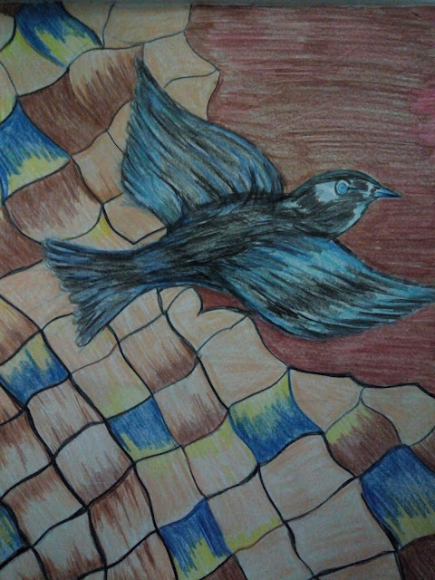 Flying bird drawing image