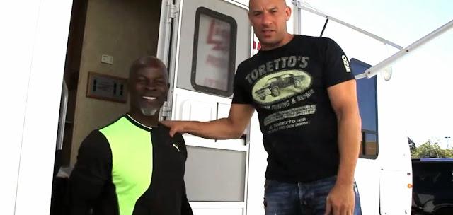Djimon Hounsou şi Vin Diesel pe platourile de filmare la Fast And Furious 7